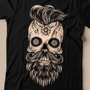 Camiseta caveira mexicana com barba feminina Zoom