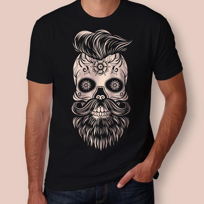 27f1c9d2c Camiseta caveira mexicana com barba Masculina - Teo Shop