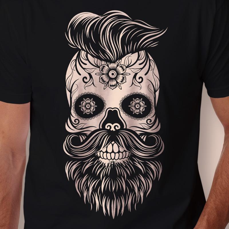 Camiseta caveira mexicana com barba Masculina Zoom