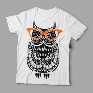 Camiseta coruja de óculos feminina cover