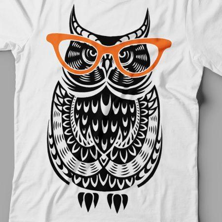 Camiseta coruja de óculos feminina zoom