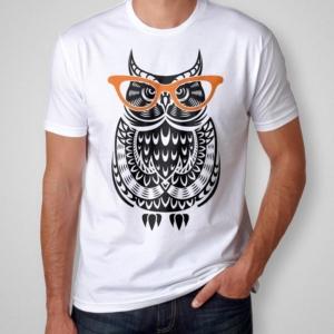 Camiseta coruja de óculos masculina cover