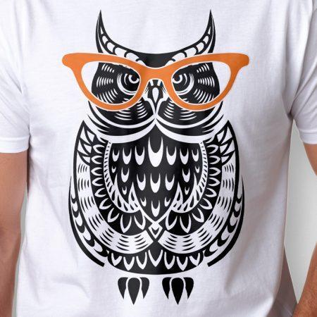 Camiseta coruja de óculos masculina zoom