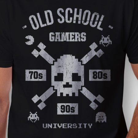 Camiseta old school gamers masculina zoom