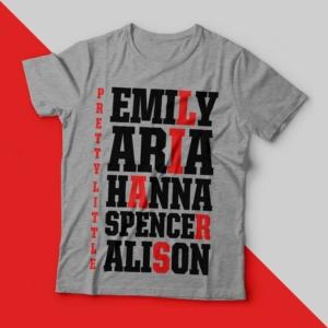 Camiseta pretty little liars names feminina cover