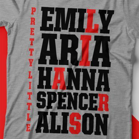 Camiseta pretty little liars names feminina zoom