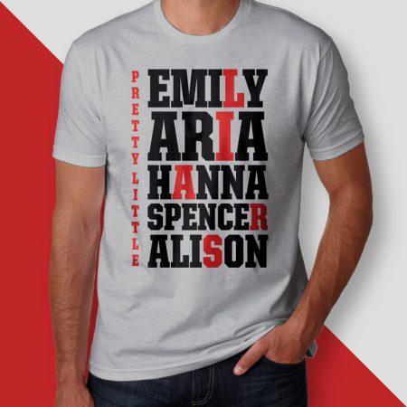 Camiseta pretty little liars names masculina cover