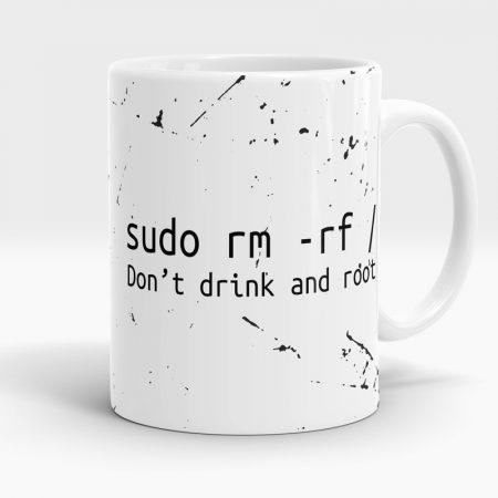 Caneca Linux Sudo Don't Drink And Root Lado 1