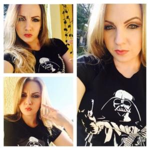 Margarete com a camiseta Darth Vader Heavy Metal