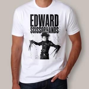 Camiseta Edward Mãos de Tesoura Branca Masculina Capa