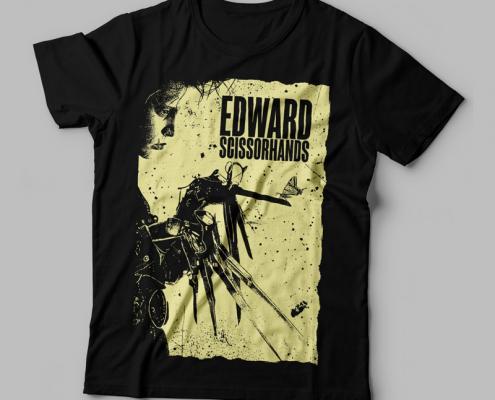 Camiseta Edward Mãos de Tesoura Preta Feminina Capa