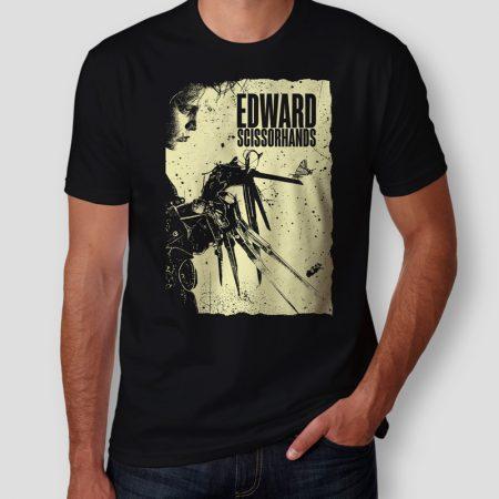 Camiseta Edward Mãos de Tesoura Preta Masculina Capa
