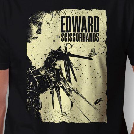 Camiseta Edward Mãos de Tesoura Preta Masculina Zoom