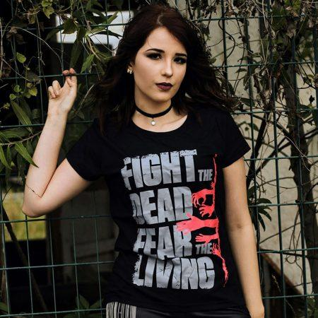 Camiseta The Walking Dead Fear The Living Feminina Capa