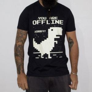 Camiseta Dinossauro Offline Masculina Preta