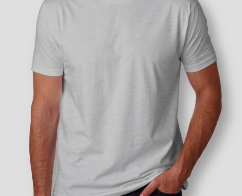 Camiseta Básica Cinza Mescla Masculina Foto