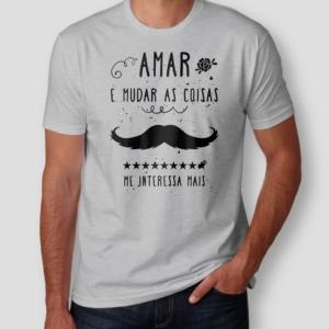 Camiseta Belchior Alucinacao Masculina Cinza Mescla