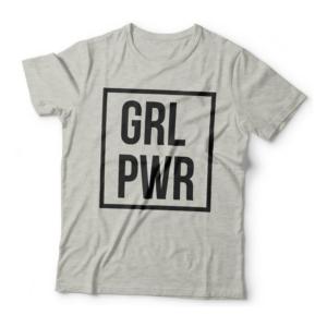 Camiseta GRL PWR - Girl Power Feminina Cinza Mescla