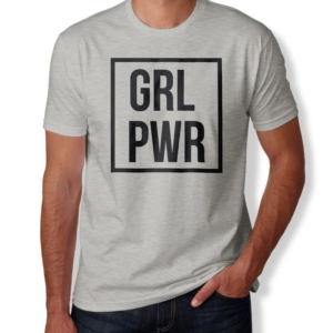 Camiseta GRL PWR - Girl Power Masculina Cinza Mescla