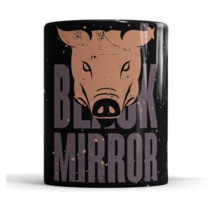 Caneca Black Mirror Cerâmica 325ml Alça Branca