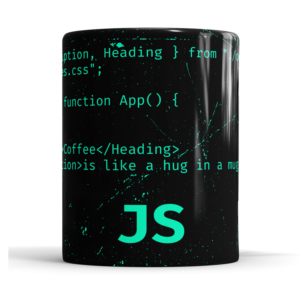 Caneca JavaScript React Cerâmica 325ml Alça Branca