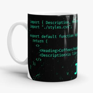 Caneca JavaScript React Cerâmica 325ml Alça Branca