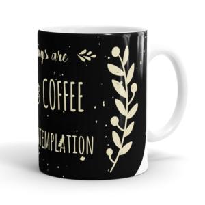 Caneca mornings are for coffee and contemplation - Cerâmica 325ml (Alça branca)