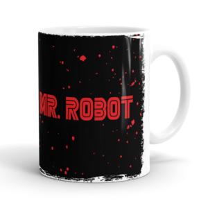 Caneca Mr. Robot FSociety Cerâmica 325ml Alça Branca